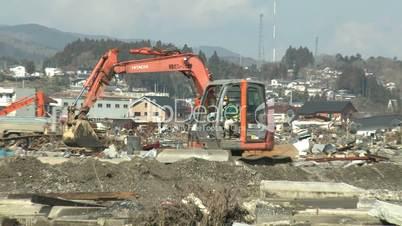 Heavy Machinery In Tsunami Devastation Area In Kesennuma City Japan