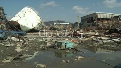 Oil Storage Tank Destroyed By Tsunami In Kesennuma City Japan