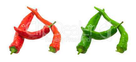 Letter A composed of green and red chili peppers