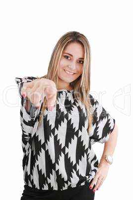portrait of attractive smile laugh teenage girl, pointing her fi