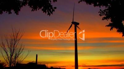 Wind Power Turbine at Sunset