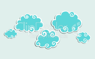Blue Clouds whith White Border