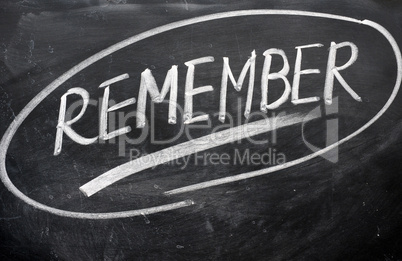 Remember word written on a blackboard