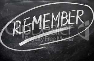 Remember word written on a blackboard