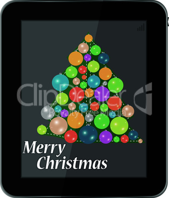 Christmas card in smartphone isolated on a white background