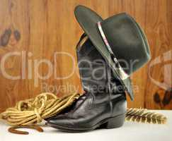 black cowboy hat and boots