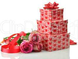 gift boxes and roses