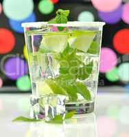 cold drink with lime and mint