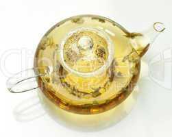 teapot with loose green tea