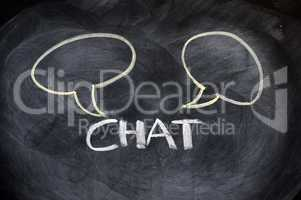 Chat board drawn on a blackboard