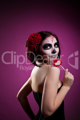 funny woman in day of the dead skull face art