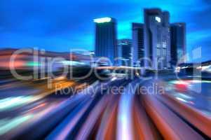 Urban night traffics.
