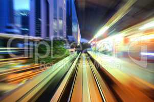 Speed trains passing train station