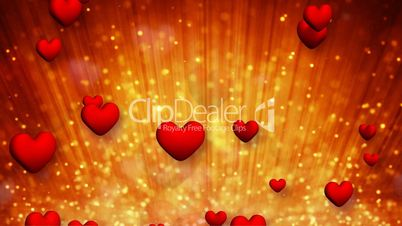heart shapes and golden particles rising up loop