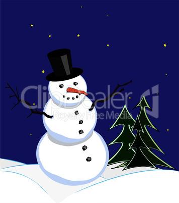 Snowman under starlit sky