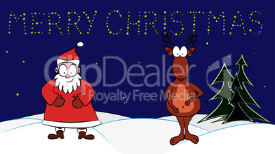 Santa Claus and Rudolph the red-nosed reindeer under a starlit sky