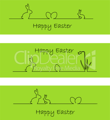 Banners with easter bunny, easter eggs, and daffodil