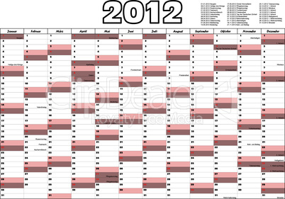 Calendar for 2012 in German with german official holidays