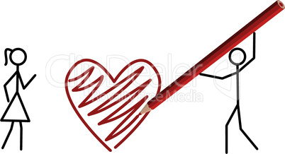 Two stickmans in love draw a heart with a crayon