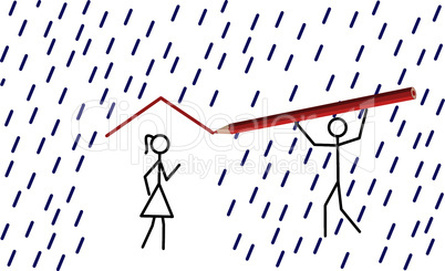 Stickman provides shelter from rain for his/her love