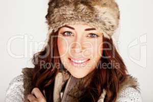 Stunning Redhead In Winter Fur Hat