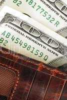 Dollar banknotes in wallet