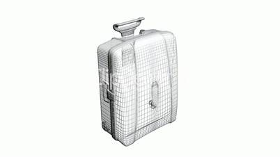 Model with handle of travel suitcase,Grid,mesh,sketch,structure.