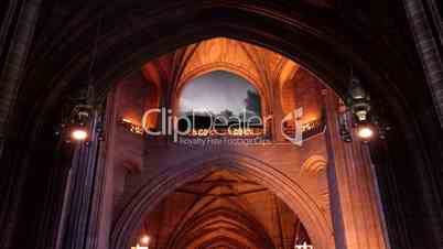 Lightning through arched Cathedral window