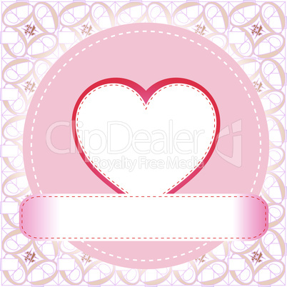 Postcard from the love valentines heart. vector