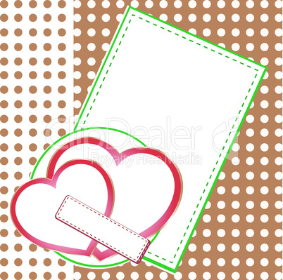 Valentin`s Day card with two love hearts. vector