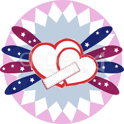 Heart love card, valentine day cute abstract background, vector