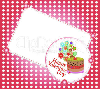 Celebration card. Valentine`s cake with space for text. vector illustration
