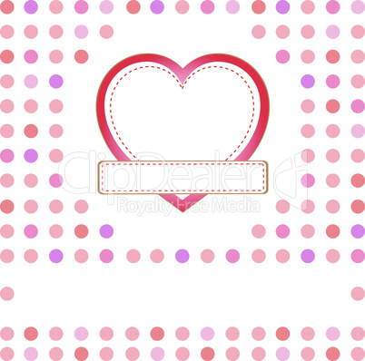 Romantic gift card with love heart and space for greetings word. Vector illustration