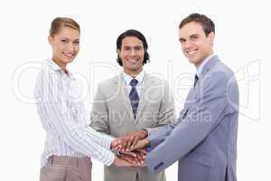 Businessteam motivating each other