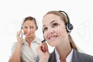 Smiling operators using headsets