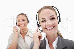 Happy operators using headsets
