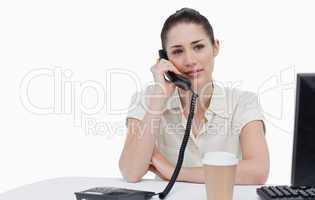 Secretary answering the phone