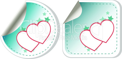 set of sticker love hearts. happy valentines day