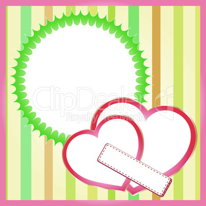 Two paper hearts background, saint valentines theme. vector