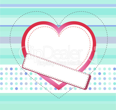 Blue love card with Wedding heart, vector invitation card