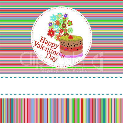 strawberry valentine`s cake with love and many flowers. vector