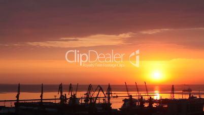 sunrise in the harbor of Odessa, Ukraine (Time Lapse)