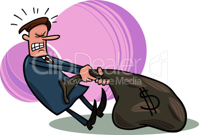 businessman draging sack of dollars
