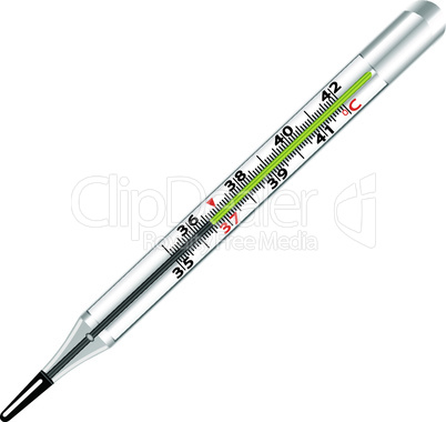 Medical glass mercury thermometer on white background.