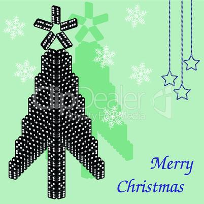 A beautiful tree of dominoes. Christmas card.