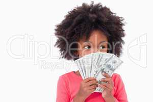 Girl showing bank notes