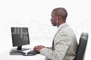 Businessman using a monitor