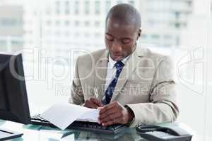 Entrepreneur signing a document