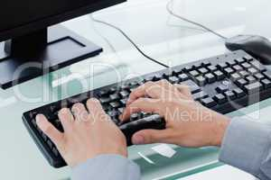 Masculine hands typing