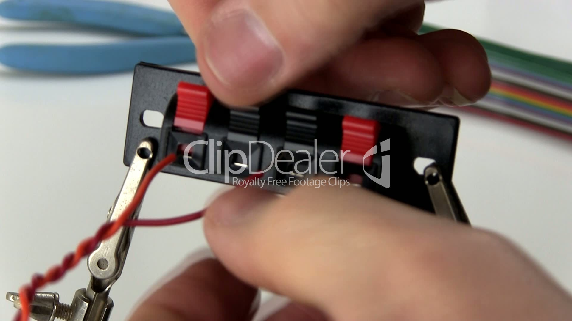 Attaching Wire To Speaker Terminals Strip Royalty Free Video And Terminal Wiring Technician Technology Time Tool Twisted